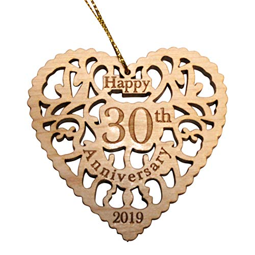 Twisted Anchor Trading Co 30th Anniversary Ornament 2019 - Heart Shaped Happy Anniversary Ornament - Beautiful Laser Cut Wood Detail - Comes in a Pretty Organza Gift Bag so it's Ready to give ()