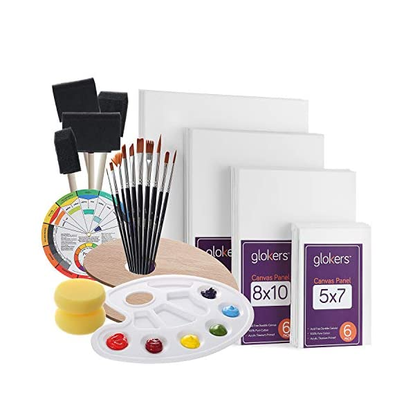 Glokers-Canvas-Panels-Painting-Kit-Art-Supplies-Set-Includes-Paint-Palette-Sponge-Brushes-Canvases-Paintbrushes-Mixing-Wheel-Warp-Free-Painting-Canvas-Great-for-Acrylic-Oil-Watercolor