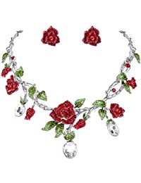Ever Faith Silver-Tone Crystal Gorgeous Red Rose Flower Green Leaf Necklace Earrings Set Clear A10542-13