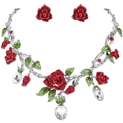 Necklace Crystal Floral Earrings (EVER FAITH Silver-Tone Rhinestone Crystal Gorgeous Red Rose Flower Green Leaf Necklace Earrings Set Clear)