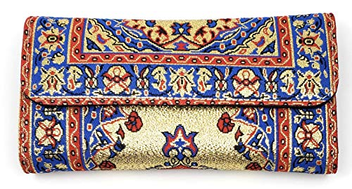 Traditional Turkish Carpet Pattern Tapestry Fabric Wallet Or Clutch