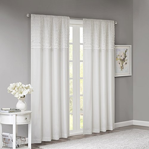 Madison Park Bessie Cotton Horizontal Ruffle Panel White 50x84, 50