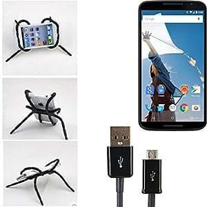 """soporte para coche y para mesa etc. para Motorola Nexus 6, negro """"araña"""" cable USB. montaje de la salida aire, espejo retrovisor, bicicletas, etc. Trípode - K-S-Trade (TM)"""