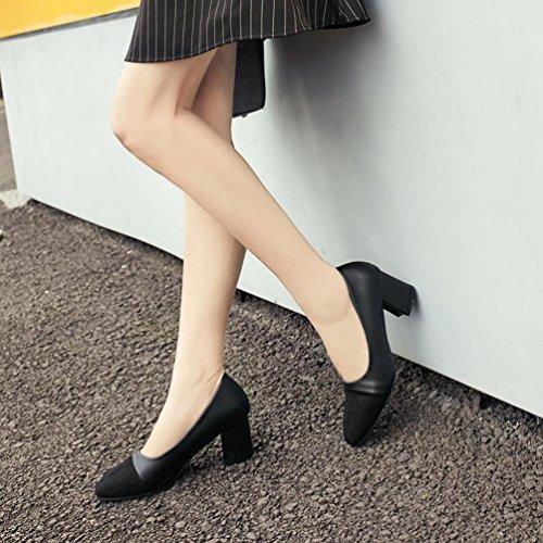 JIANGFU Black Freizeitschuhe Flache High Frühlingsschuhe Mode Schuhen Schuhe Heel Spitz Dicken Frauen Schuhe Mundarbeitsschuhe Elegant Hochzeit mit 4qrxaRw4
