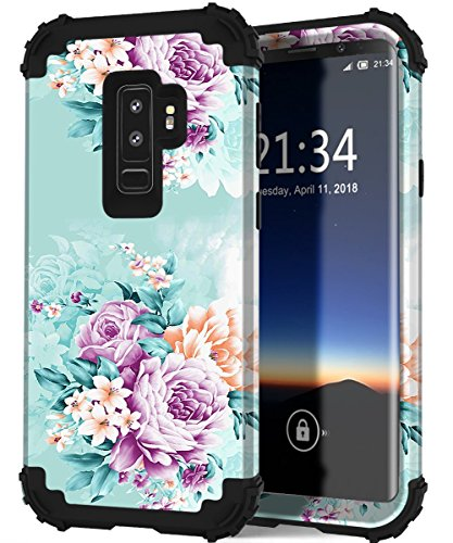 Samsung Galaxy s9 Plus case,PIXIU Hybrid Rubber Full Body Shockproof Protective Floral Cover Case with Unique Pattern for Samsung Galaxy s9 + Plus 2018 Released (Peonies)
