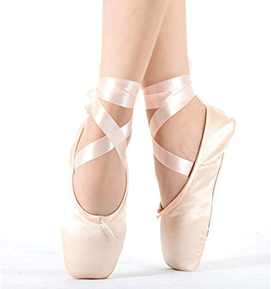 TXJ Sports Ballet Shoes Pink Point Ballet Shoes for Girls and Women with Ribbon and Toe Pads