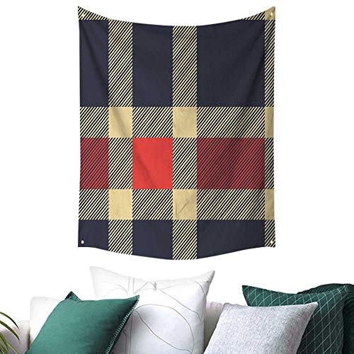 (Anshesix Checkered Tapestry for Bedroom Vintage Plaid Scottish Tartan Pattern with Retro Display Checks Lines Gift for Picnic/Beach 70W x 84L INCH Dark Blue Coral)