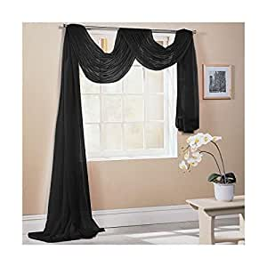 "BLACK 59X197"" 150X500CM TAILORED VOILE WINDOW SCARF PELMET"