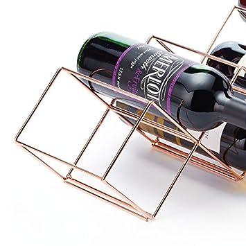 KitchenCraft BarCraft Stackable Free Standing Metal Copper Wine Rack 58 x 14.5 cm 7 Bottle Capacity