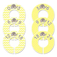 Closet Doodles C41 Elephant Yellow Baby Clothing Dividers Set of 6 Fits 1.25 Inch Rod