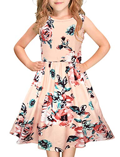 Girls Floral Maxi Dress Kids Summer Casual Pocket Sleeveless Short Dress for Girls 6-12 Year