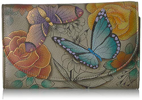 Anna by Anuschka Hand Painted Leather | Large Three Fold Checkbook Wallet/Clutch | Floral Paradise Tan