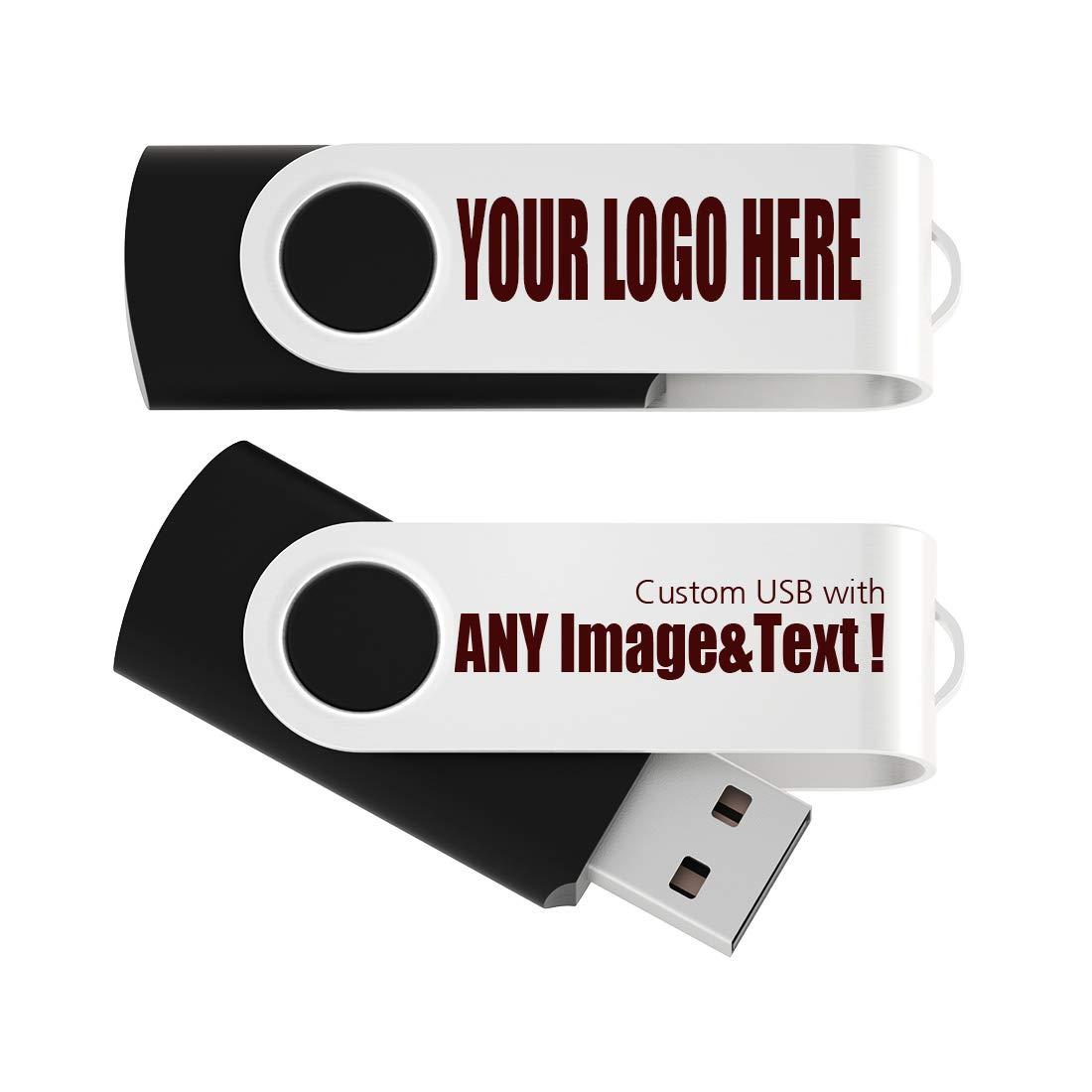 100 Pack 4GB USB Flash Drive Custom USB Thumb Drive Promotional Memory Stick Personalized Logo Jump Drive Twister Swivel Design in Bulk - PMS