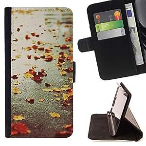 For Samsung Galaxy Core Prime / SM-G360 Case , Otoño estaciones de lluvia calle camino Leafs- la tarjeta de Crédito Slots PU Funda de cuero Monedero caso cubierta de piel