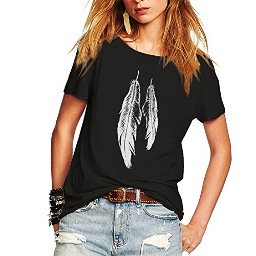 Weigou Summer Woman T Shirt Street Style Feathers Printed Short Sleeve T-Shirt Casual Loose Lady Tops Juniors Tees (S, Black)