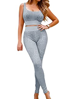 IWEMEK Womens 2 Piece Snake Print Workout Sets High Waist Leggings with Sport Bra Yoga Outfits Gym Clothes