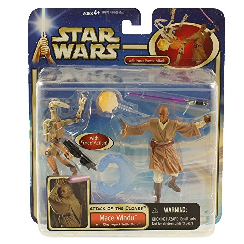 Jedi Council Members - Star Wars: Episode 2 Deluxe Mace Windu with Battle Droid Action Figure