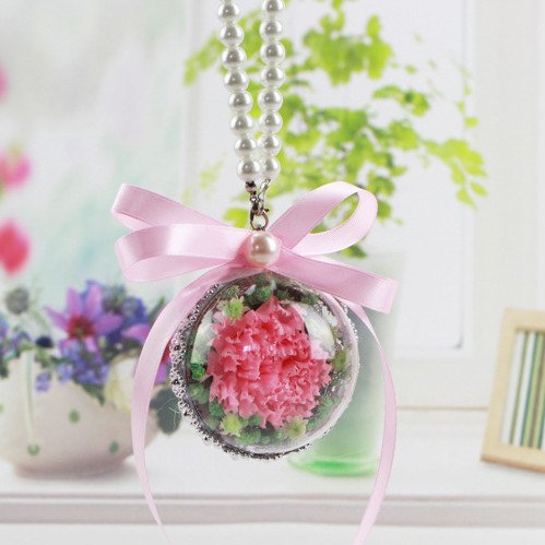 DeFancy Handmade Preserved Fresh Carnation Hanging Ornaments Car Pendant Gift for Mother's Day (Pink)