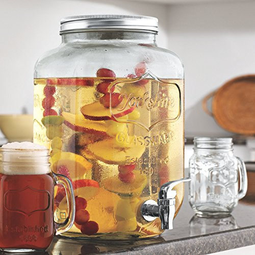 Circleware 69122 Sun Tea Mini Mason Jar Glass Beverage Dispenser with Lid Glassware for Water, Juice, Beer, Wine, Liquor, Kombucha Iced Punch & Cold Drinks, Classic, Yorkshire 1 Gallon with Stand by Circleware (Image #6)