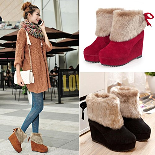 Winter Tie Boots Shoes Elevin Ankle Outdoor Brown Solid Bow TM Warm Snow 2018Womens Plush Warm Shoes ESX4q
