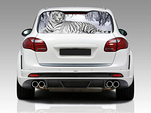 (SNOW TIGER Car Rear Window Graphic Decal Sticker Truck SUV Van Animals 065, Regular)