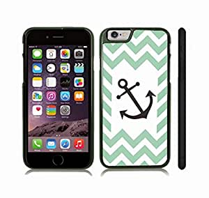 iStar Cases? iPhone 6 Case with Chevron Dual Ribbon Pattern Zig Zag Stripes Mint/ White/ Black Anchor , Snap-on Cover, Hard Carrying Case (Black)