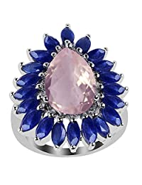 Rose Quartz,Sapphire Solid 925 Sterling Silver Cocktail Ring (14X9MM Pear)
