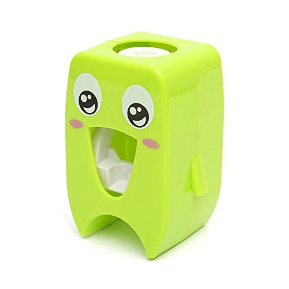 Cartoon Automatic Toothpaste Dispenser, Cute Wall Mounted Toothpaste Squeezer for Kids - Green HuaPa