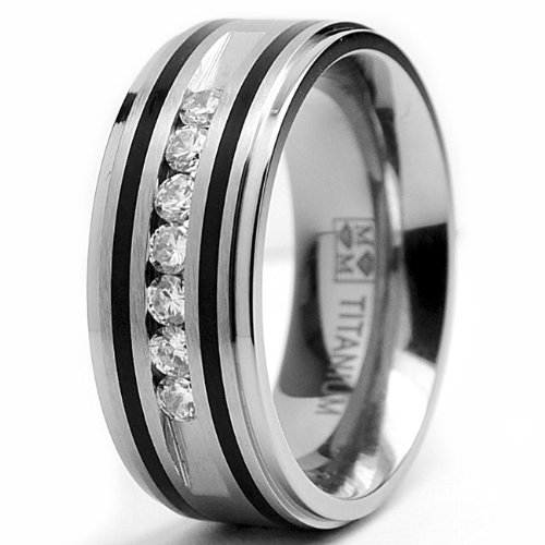 9MM Titanium Ring Wedding Band With Resin Inlay and 7 Cubic Zirconia CZ 12