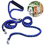 Double Dog Leash Coupler, PETBABA 1.4m/4.6FT Length Braided No Tangle Padded Handle Dog Lead for 2 Dogs Blue