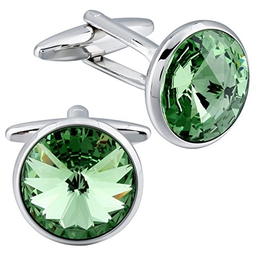 HAWSON Cufflink and Studs Tuxedo Set Silver Color with Swarovski Crystals in Jet Hematite, Blue, Crystal Grey, Purple, Pink, Red, Green and (Cuff Shirt)
