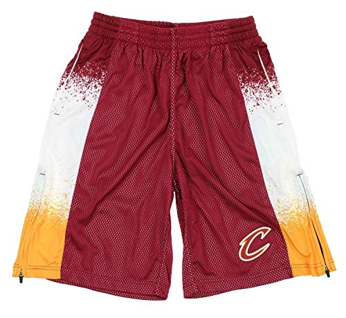 Zipway Cleveland Cavaliers NBA Mens Retro Pop Athletic Shorts, Maroon/Yellow
