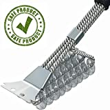 BBQ Grill Brush and Scrapper - 18in - Premium Safe 4 in 1 Stainless Steel Barbecue Cleaner Bristle Free Brush - Non-Slip Handle for Charcoal Grill Weber Gas - Steel/Ceramic/Iron/Porcelain Grill Gates
