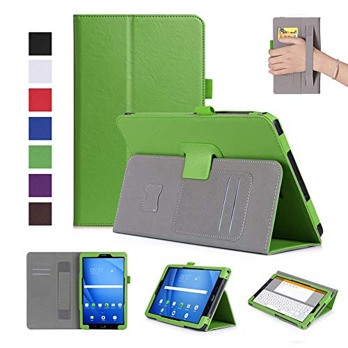 BEESCLOVER for Samsung tab A 10.1 inch 2016/T580/T585 PU Leather Protective Case with Hand Support Card Slot Sleep Function Green