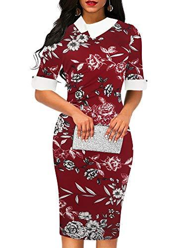 oxiuly Women's Chic Elegant Doll Collar Half Sleeve Floral Flare Patchwork Work Pencil Sheath Dress OX276 (S, Wine F)