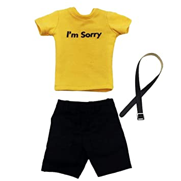 """Shorts Set for 12/"""" Male Figures Yellow T-Shirt Belt 1:6 Scale Casual Wear"""