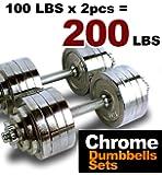MTN Gearsmith New Heavy Duty Adjustable Cast Iron Chrome Weight Dumbbell Set Dumbbells 52.5 100 105 200 lbs