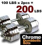 Cheap New MTN Gearsmith Heavy Duty Adjustable Cast Iron Chrome Weight Dumbbell Set Dumbbells 52.5 100 105 200 lbs (Silver-Chrome-Coated, 200 LB)
