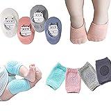 Baby Crawling Anti Slip Knee and Anti Slip Socks,Unisex Baby Toddlers 4 Pairs(Multiple colors,Large)