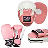 MAXSTRENGTH  Unisex Rex Leather Pink Curved Focus Pads Ladies with Pink Boxing Gloves boxing bag...