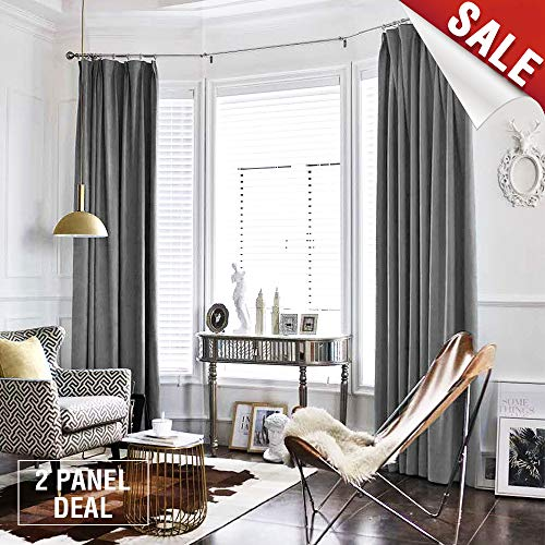 jinchan Grey Curtains Velvet Drapes Bedroom Window Curtains 108 Inch Long Living Room Rod Pocket Window Treatment Set 2 Panels