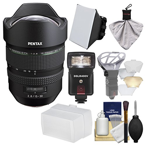 Pentax HD FA 15-30mm f/2.8 ED SDM WR Zoom Lens with Flash + Soft Box + Diffuser + Kit Pentax Power Zoom