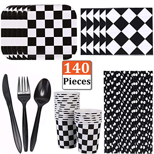 MeiMeida Race Car Party Supplies Racing Birthday Party Tableware for 20 Guests | Black and White Checkered Dessert Paper Plates, Cups, Napkins, Straws, Plastic Knife Fork Spoon Dinnerware Set Bundle Pack -