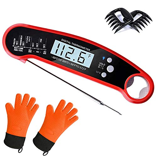Vsx Trading Waterproof Instant Read Digital Meat Thermometer for Grilling & Cooking – Bundle Includes Barbecue Gloves & Bear Claws Meat Shredder (5 pc) - - Bear Claw Kit