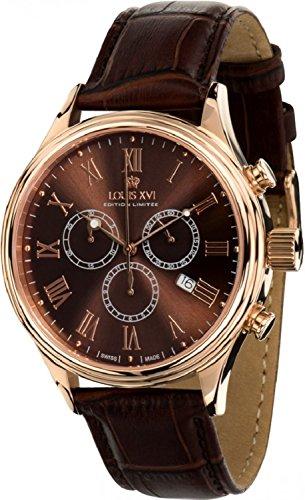 Louis Quartz Watch - Louis XVI Men's-Watch Danton l'or Rose brun Swiss Made Chronograph Analog Quartz Leather Brown 472