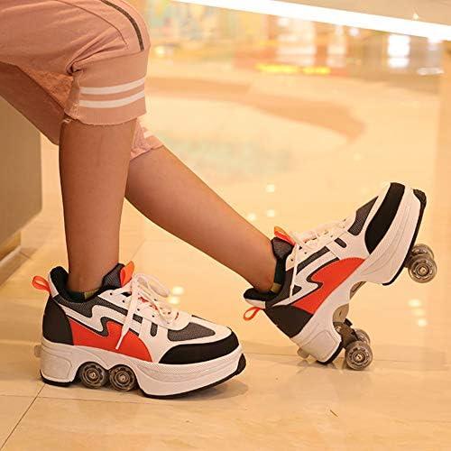Fbewan À Quatre Roues Automatique à Deux Chaussures de Marche Invisible Rouleau Double-Deformation rangée Femelle 2 en 1 Double Usage Occasionnel Skates