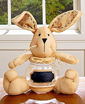 Easter Candy Jar with Chalkboard Label Decorative Spring Table Top Accents Decoration (bunny)