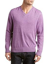 Mens Marled V-Neck Sweater, M, Purple
