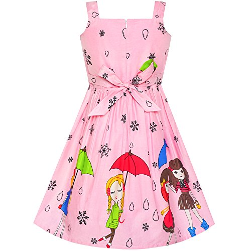 Sunny Fashion Girls Dress Blue Ladybug Pink Dot Bow Tie Size 2-8 Years