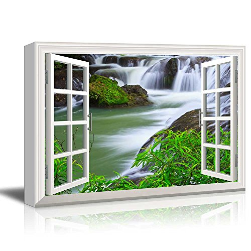 wall26 - Creative Window View Canvas Prints Wall Art - Waterfall in National Park of Thailand - 24